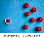 one pink chocolate truffle... | Shutterstock . vector #1329685445