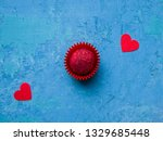one pink chocolate truffle... | Shutterstock . vector #1329685448