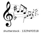icon music notes. sheet music... | Shutterstock .eps vector #1329693518