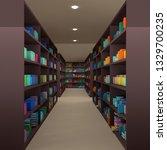many books on bookshelf  3d... | Shutterstock . vector #1329700235