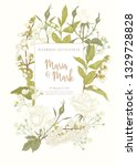 wedding invitation with white... | Shutterstock .eps vector #1329728828