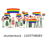 Lgbt and gay parade, protest. People holding rainbow flags, transporants, posters. Vector illustration of gay people, homosexual community. Gay pride, parade sexual discrimination protest in flat.