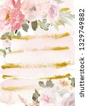 greeting card with watercolor... | Shutterstock . vector #1329749882
