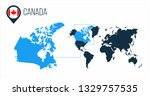 canada map located on a world... | Shutterstock .eps vector #1329757535