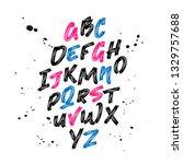 font. brush painted letters....   Shutterstock .eps vector #1329757688