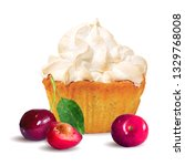 pastry with cream and cherry...   Shutterstock .eps vector #1329768008