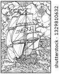 Ancient Vessel Under Full Sail...