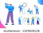 man with spyglass.flat business ... | Shutterstock .eps vector #1329828128