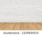 empty room with brown ash wood...   Shutterstock . vector #1329834515