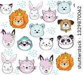 funny animals heads on a white... | Shutterstock .eps vector #1329870062