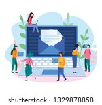 envelope with a web newsletter  ... | Shutterstock .eps vector #1329878858