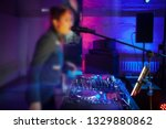 pretty dj girl playing songs in ...   Shutterstock . vector #1329880862