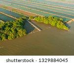 shrimp farms aerial view in sea ... | Shutterstock . vector #1329884045