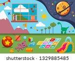 kindergarten room with kids... | Shutterstock .eps vector #1329885485