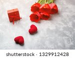 Red Spring Tulips And Gift Box...