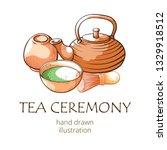 matcha tea  oriental ceremony... | Shutterstock .eps vector #1329918512