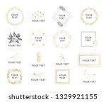 set of hand drawn wedding logos ... | Shutterstock .eps vector #1329921155