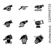 Artillery unit icons set. Simple set of 9 artillery unit icons for web isolated on white background