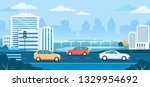 modern city transport traffic... | Shutterstock .eps vector #1329954692