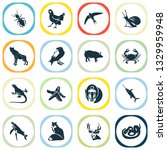 fauna icons set with mandrill ... | Shutterstock .eps vector #1329959948