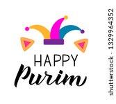 happy purim calligraphy hand... | Shutterstock .eps vector #1329964352