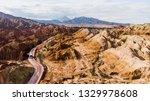 top view of rainbow mountains... | Shutterstock . vector #1329978608