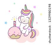 cute unicorn cartoon happy... | Shutterstock .eps vector #1329980198