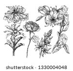 ink flowers set | Shutterstock .eps vector #1330004048