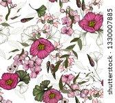 retro wild seamless floral...   Shutterstock .eps vector #1330007885