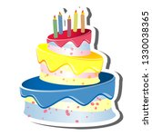 triple tiered birthday cake and ... | Shutterstock .eps vector #1330038365