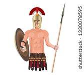 ancient greek warrior in helmet ... | Shutterstock .eps vector #1330078595