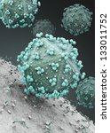 Hiv Virus Attacking Cell. 3d...
