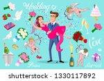 set vector just married ... | Shutterstock .eps vector #1330117892