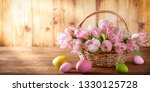 easter holiday basket with pink ... | Shutterstock . vector #1330125728