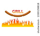 raster burning grill sausages... | Shutterstock . vector #1330158818