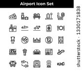 airport icon set vector outline