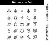 nature icon set vector outline