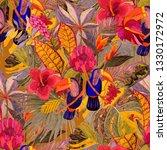 tropical birds seamless pattern.... | Shutterstock . vector #1330172972