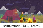 vector flat dad and son go... | Shutterstock .eps vector #1330185098