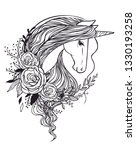 magic unicorn with roses....   Shutterstock .eps vector #1330193258