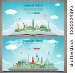 travel composition with famous... | Shutterstock .eps vector #1330224395