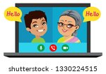 an old indian woman is speaking ...   Shutterstock .eps vector #1330224515