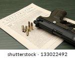 Still life of pro 2nd amendment. - stock photo