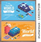 travel banners in isometric... | Shutterstock .eps vector #1330229108