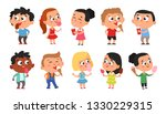 set of happy kids enjoying... | Shutterstock .eps vector #1330229315