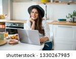 girl in the morning using her... | Shutterstock . vector #1330267985