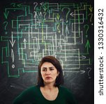 Small photo of Puzzled and thoughtful young woman having a lot of questions like a mess arrows coming out of head. Anxiety stress and headache feeling. Solving a maze to find the answer. Problem analysis solution.