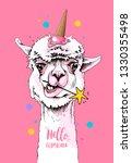 fun llama in a ice cream party... | Shutterstock .eps vector #1330355498