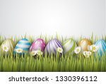 easter background with painted...   Shutterstock .eps vector #1330396112
