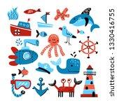 vector set of marine theme... | Shutterstock .eps vector #1330416755